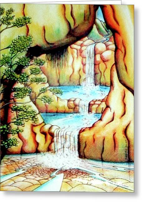 Prosperity Waterfall 1 Greeting Card by Barbara Stirrup
