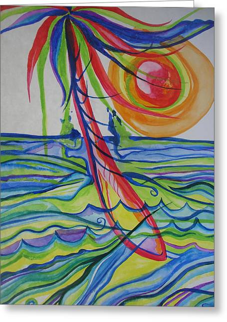 Greeting Card featuring the painting Psychedelic Palm Tree by Erika Swartzkopf