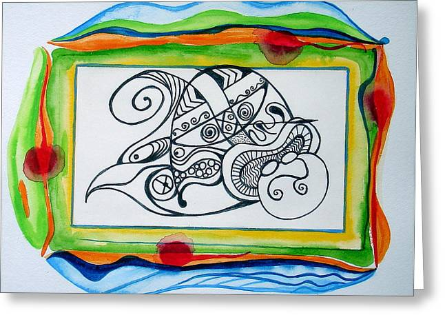Greeting Card featuring the painting Psychedelic Upside-down Sleeping Buddha by Erika Swartzkopf