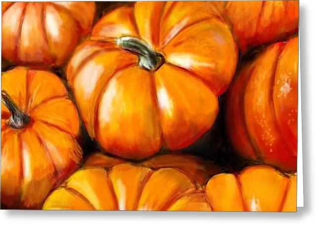 Pumpkin Harvest Greeting Card by Lincoln Howes