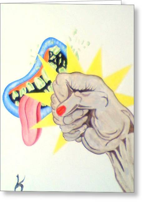 Punch Face Greeting Card by Roger Golden