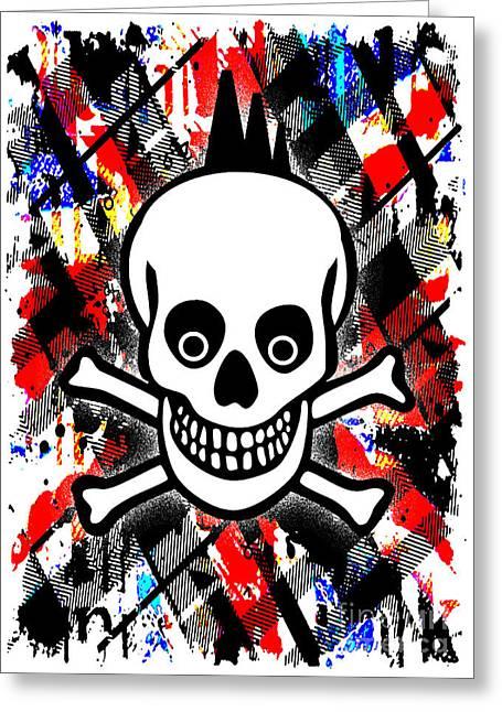 Punk Rock Skull Greeting Card by Roseanne Jones