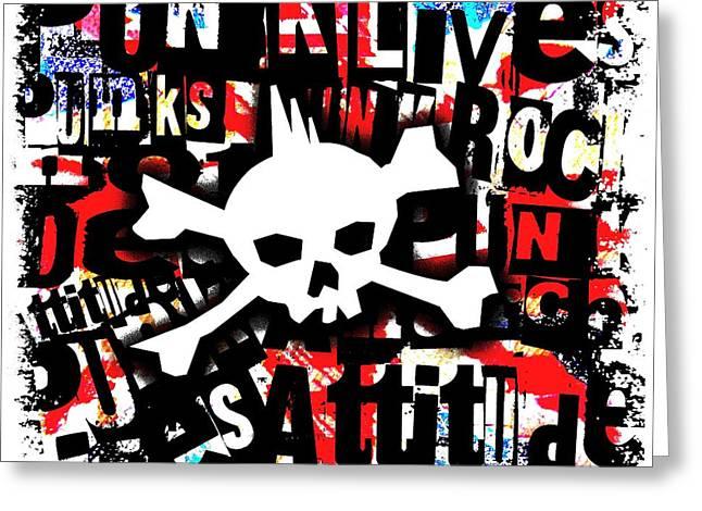 Punk Skull Greeting Card by Roseanne Jones