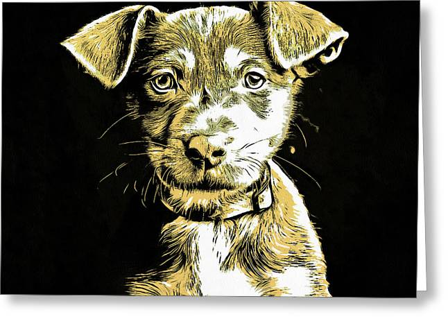 Puppy Dog Graphic Novel Drawing Greeting Card by Edward Fielding