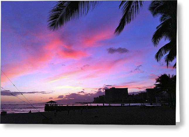 Purple Ocean Sunset Greeting Card by Erika Swartzkopf