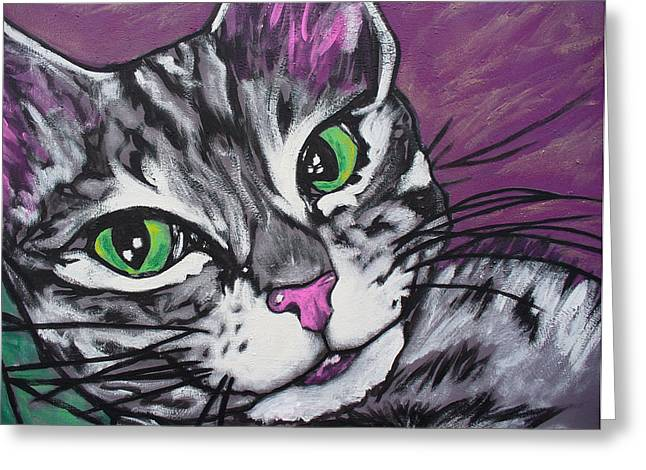 Purple Tabby Greeting Card by Sarah Crumpler