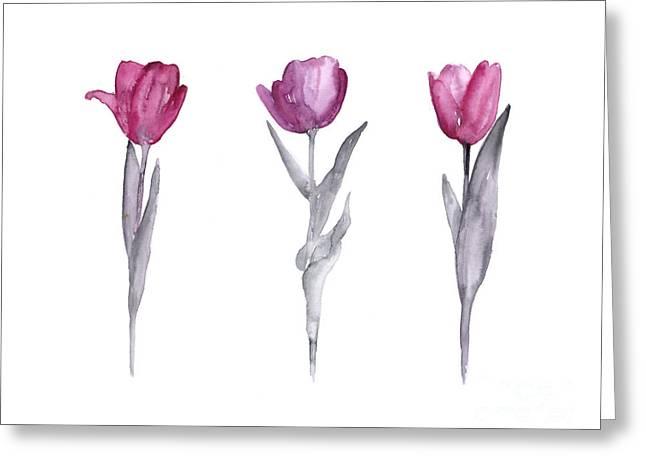 Purple Tulips Watercolor Painting Greeting Card by Joanna Szmerdt