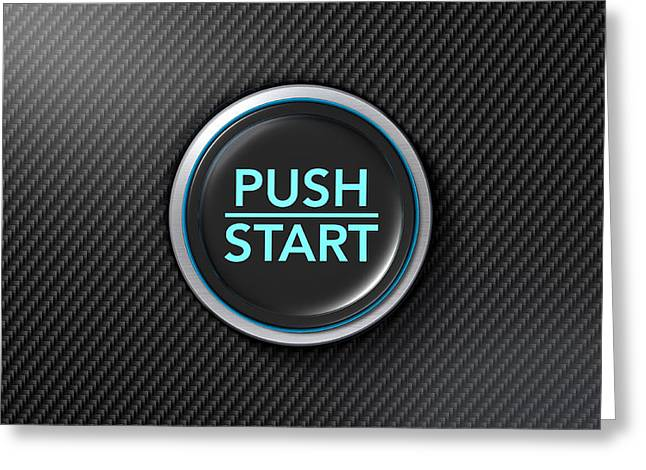 Push To Start Carbon Fibre Button Greeting Card