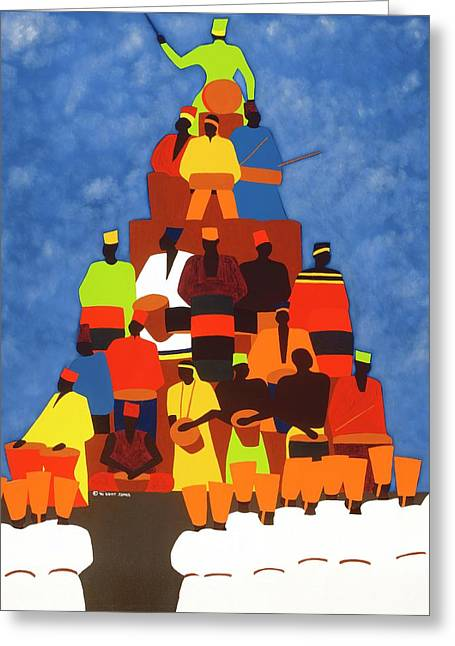 Pyramid Of African Drummers Greeting Card