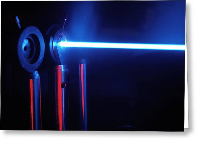 Laser Beam Greeting Cards - Quantum Entanglement Apparatus Greeting Card by Volker Steger