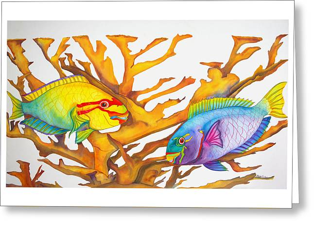 Queen Parrotfish And Elkhorn Coral Greeting Card
