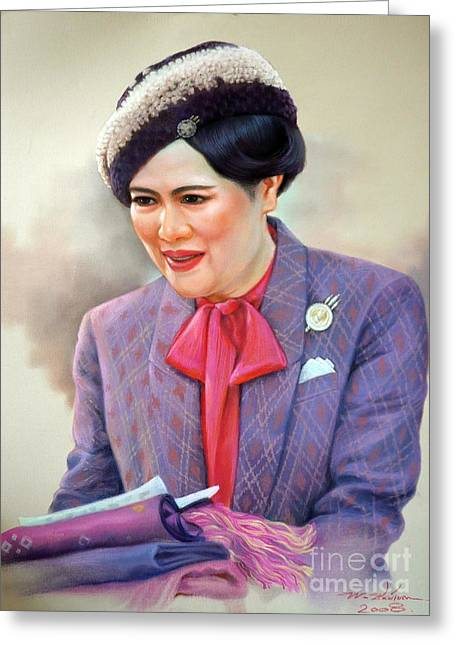 Greeting Card featuring the painting Queen Sirikit by Chonkhet Phanwichien