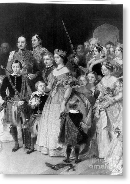 Queen Victoria With Members Of Royal Greeting Card by Science Source