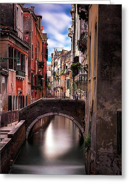 Quiet Canal In Venice Greeting Card by Andrew Soundarajan