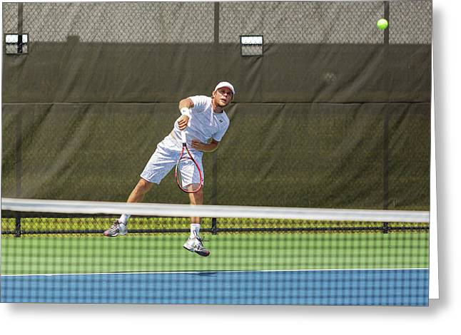 Radu Albot Plays At The Winston-salem Open Greeting Card by Bryan Pollard