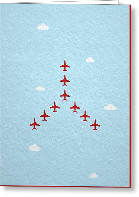 Raf Red Arrows In Formation Greeting Card by Samuel Whitton