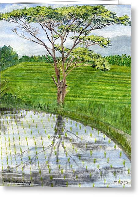 Greeting Card featuring the painting Rain Tree On The Way To Ubud Bali Indonesia by Melly Terpening