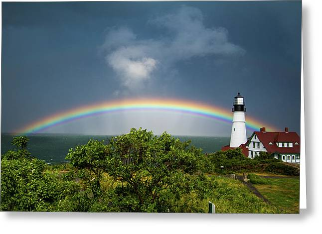 Rainbow At Portland Headlight Greeting Card