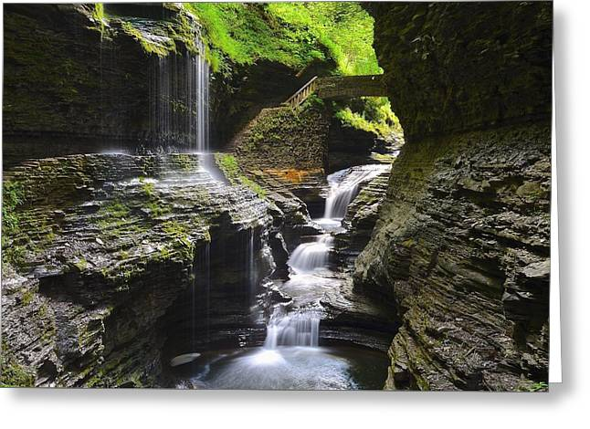 Rainbow Falls Greeting Card by Frozen in Time Fine Art Photography
