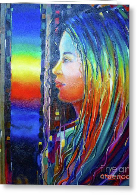 Rainbow Girl 241008 Greeting Card by Selena Boron