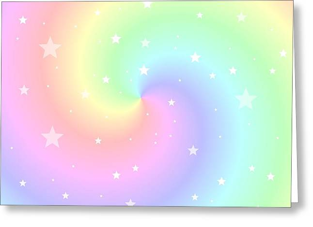 Rainbow Swirl With Stars Greeting Card by Marianna Mills