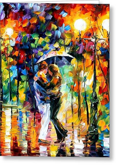 Rainy Dance Greeting Card by Leonid Afremov