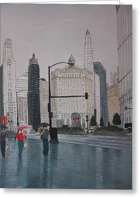 Rainy Day Chicago Greeting Card by Jacob Stempky