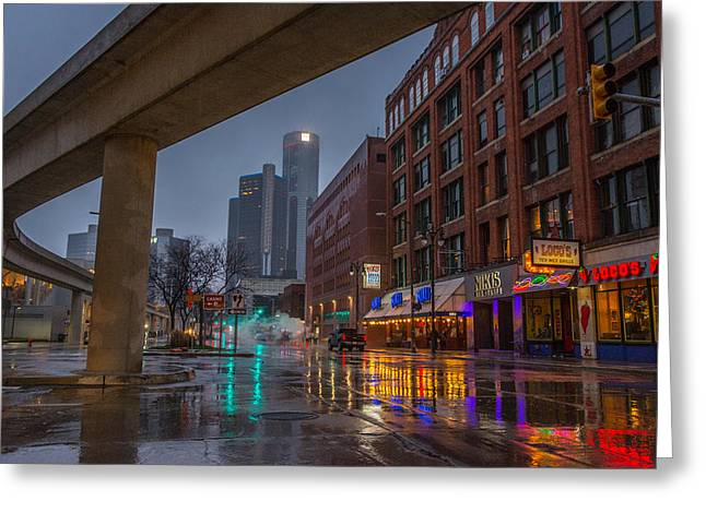 Rainy Night In Detroit  Greeting Card
