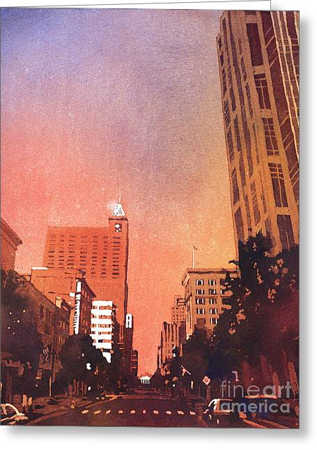 Raleigh Downtown Greeting Card by Ryan Fox