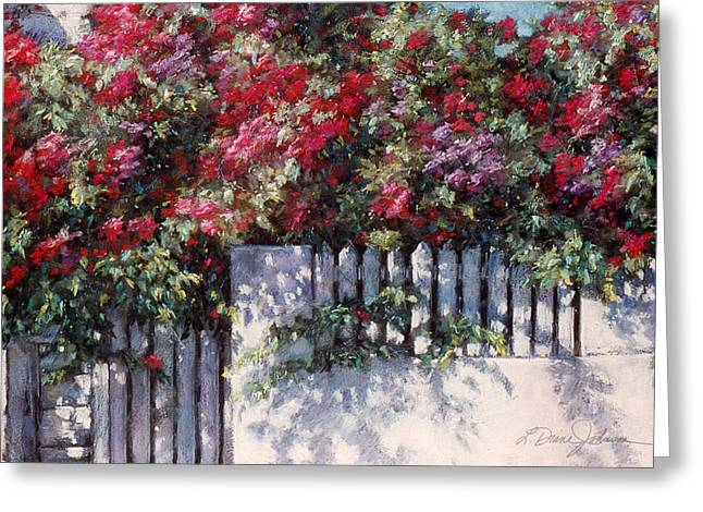 Gate Pastels Greeting Cards - Ramblin Rose Greeting Card by L Diane Johnson