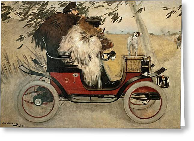 Ramon Casas And Pere Romeu In An Automobile Greeting Card