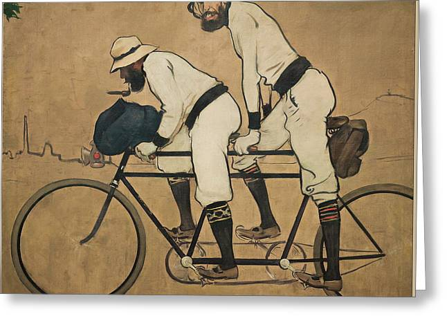 Ramon Casas And Pere Romeu On A Tandem Greeting Card by Ramon Casas