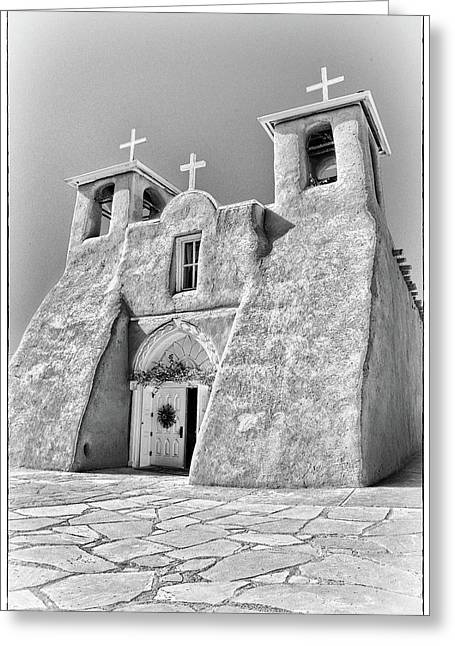 Ranchos De Taos Church In Black And White Greeting Card by Charles Muhle