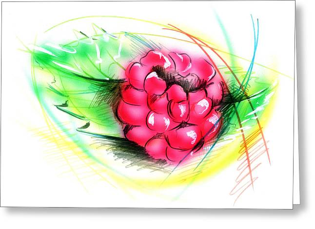 Raspberry Greeting Card by Nick Freemon