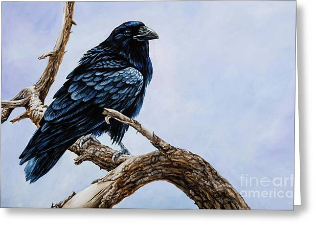 Greeting Card featuring the painting Raven by Igor Postash