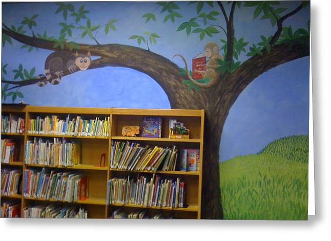 Reading Animals In The Kids Room At The Latt Maxcy Memorial Library Greeting Card by Scott K Wimer
