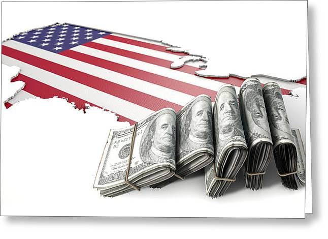 Recessed Country Map And Cash Usa Greeting Card by Allan Swart