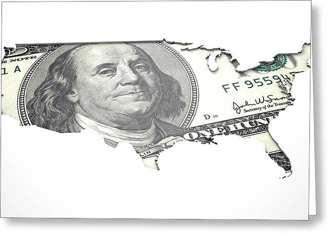 Recessed Country Notes Usa Greeting Card