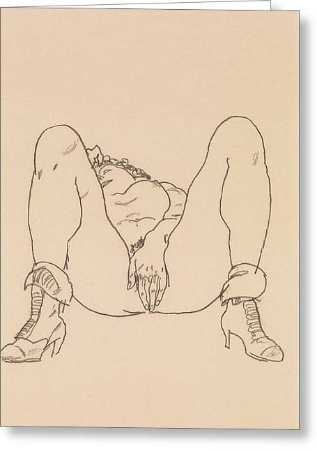 Reclining Nude With Boots Greeting Card