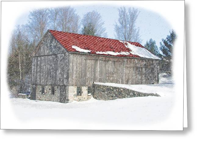 Red Barn In Winter Greeting Card by Kat Wauters