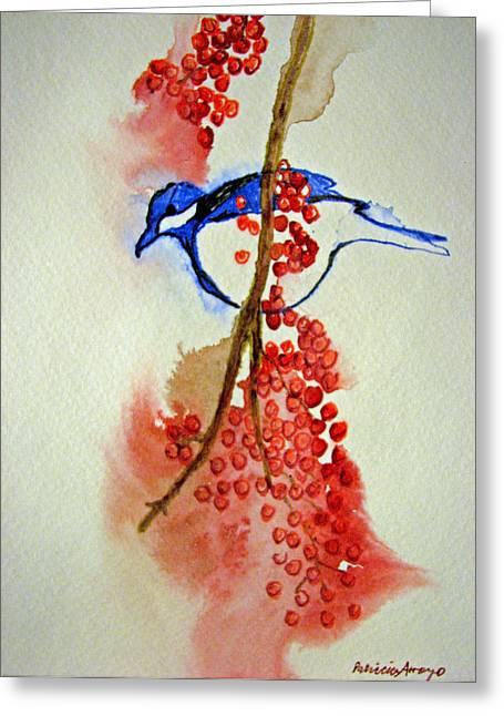 Red Berry Blue Bird Greeting Card by Patricia Arroyo