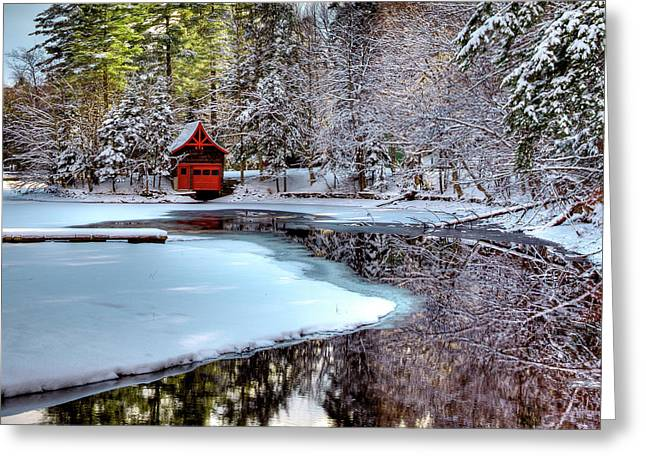 Red Boathouse In Winter Greeting Card by David Patterson