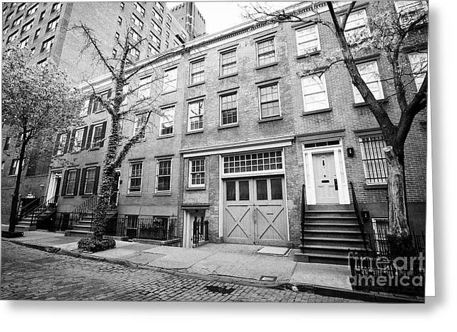 red brick townhouses with basement flats greenwich village New York City USA Greeting Card