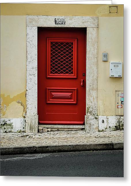 Red Door Greeting Card by Marco Oliveira