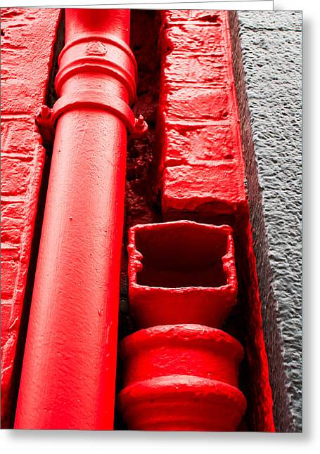 Red Drainpipe Greeting Card