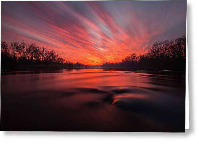 Red Dusk Greeting Card by Davorin Mance