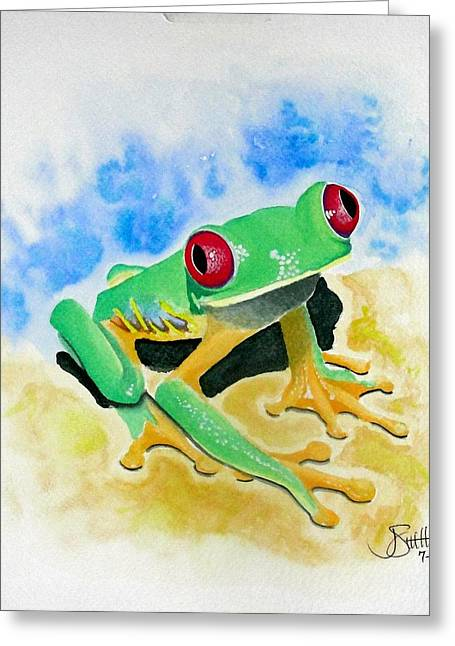 Red Eyed Tree Frog Greeting Card by Jimmy Smith