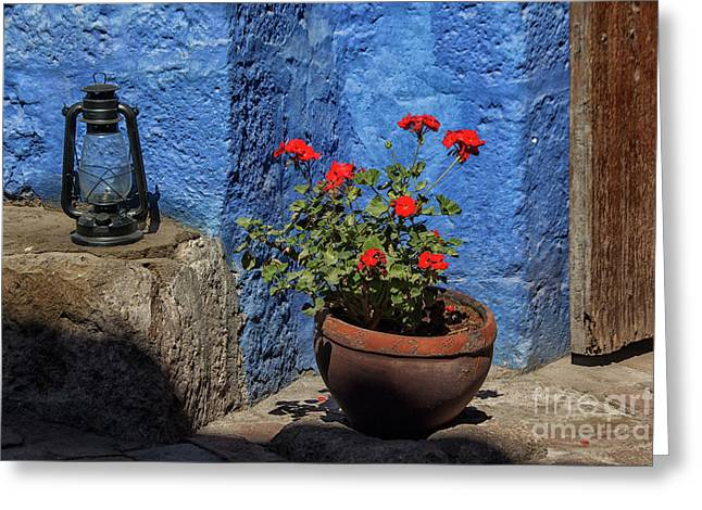 Greeting Card featuring the photograph Red Geranium Near A Blue Wall by Patricia Hofmeester