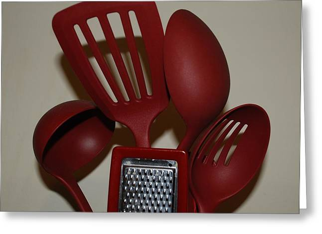 Red Kitchen Utencils Greeting Card by Rob Hans