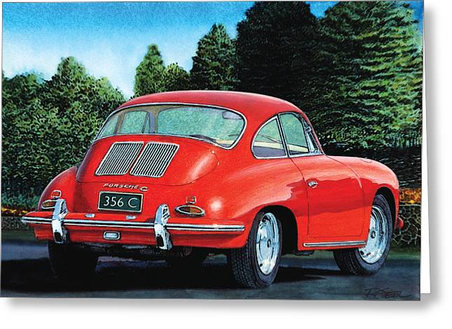 Red Porsche 356c Greeting Card
